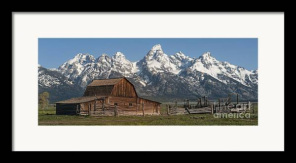 Moulton Barn Grand Tetons I Framed Print By Sandra Bronstein