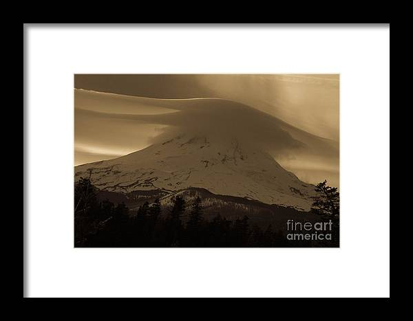 Oregon Framed Print featuring the photograph Mount Hood In The Clouds by Cari Gesch