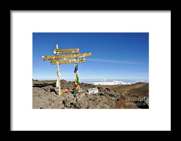 Kibo Summit Framed Print featuring the photograph Mount Kilimanjaro Summit Sign In 5.895 Meters With Northern Ice Fields Beyond by Elke Christina Lackner