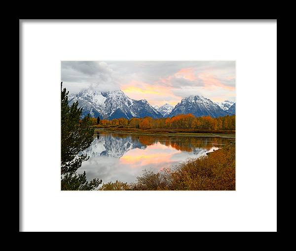 Wyoming Framed Print featuring the photograph Mount Moran Reflection Sunset by Ed Riche