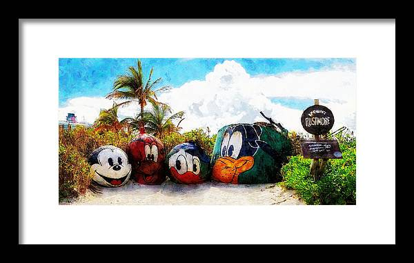 Disney Framed Print featuring the painting Mount Rustmore Castaway Cay by Sandy MacGowan