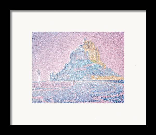 Pointillist; Divisionist; Mont Saint-michel Framed Print featuring the painting Mount Saint Michel Fog And Sun by Paul Signac