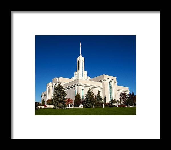 Salt Lake Temple Framed Print featuring the photograph Mount Timpanogos Utah Temple by John Wunderli