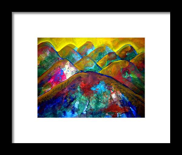 Painting Framed Print featuring the painting Mountain 120927-3 by Aquira Kusume