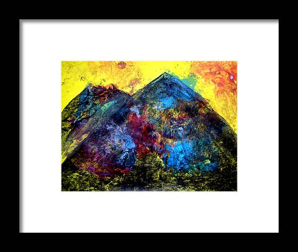 Painting Framed Print featuring the painting Mountain 120928-2 by Aquira Kusume