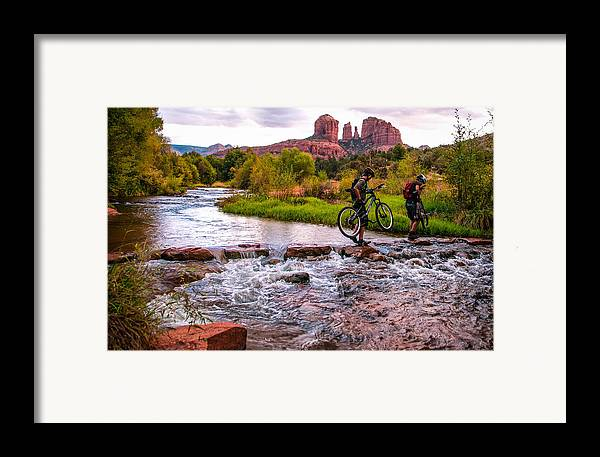 Cathedral Crossing Framed Print featuring the photograph Mountain Bikers Crossing Cathedral Falls by Linda Pulvermacher