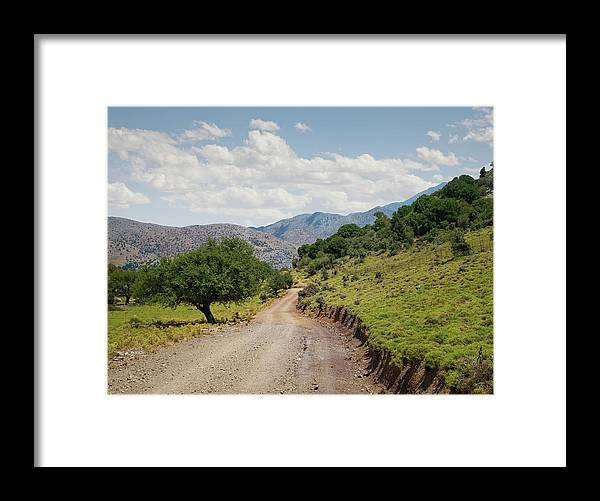 Tranquility Framed Print featuring the photograph Mountain Dirt Road In Northern Crete by Ed Freeman