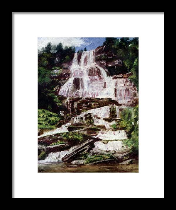 Landscape Framed Print featuring the pastel Mountain Falls by Nancy Yang