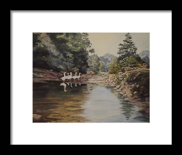 Landscape Framed Print featuring the painting Mountain Home Creek by Wanda Dansereau