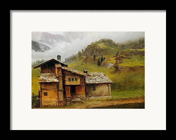 Cabin Framed Print featuring the painting Mountain House by Albert Bierstadt
