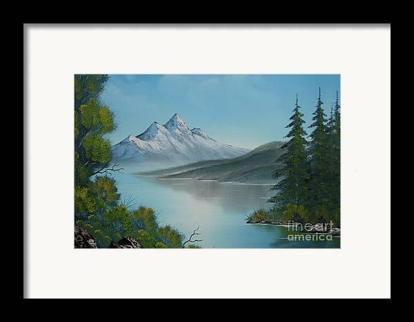 Mountain Lake Framed Print featuring the painting Mountain Lake Painting A La Bob Ross by Bruno Santoro