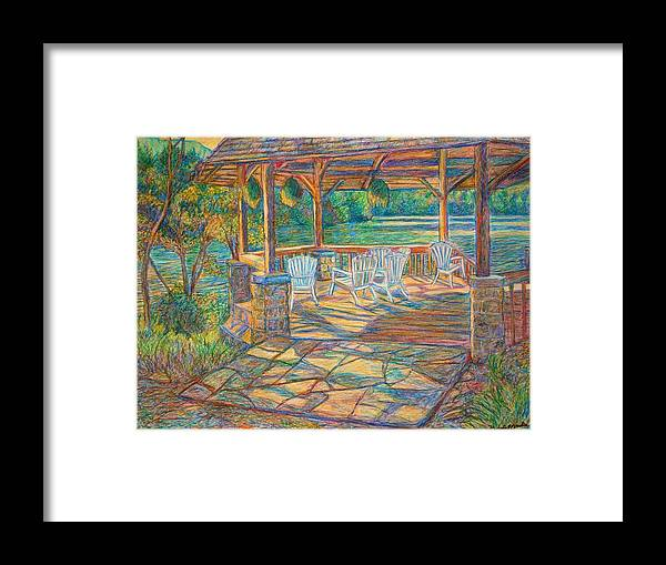 Lake Framed Print featuring the painting Mountain Lake Shadows by Kendall Kessler