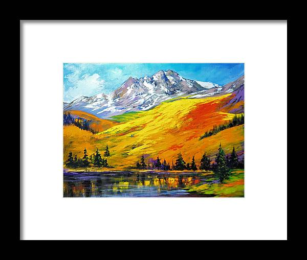 Landscape Framed Print featuring the painting Mountain Meadow by Ron Lace