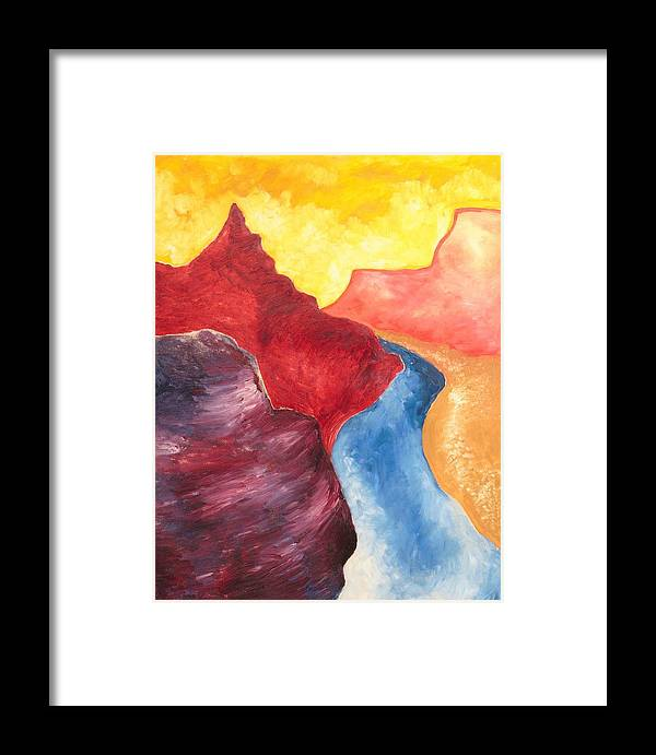 Abstract Framed Print featuring the painting Mountain Pass by Zodiak Paredes