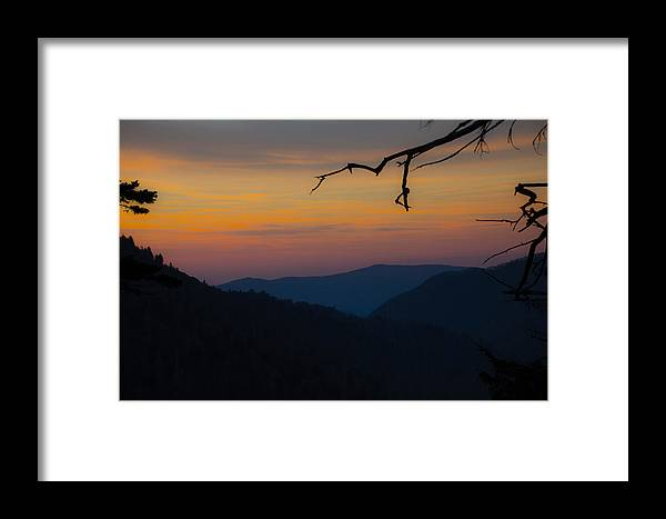 Mountains Framed Print featuring the photograph Mountain Sunset by Cathy Donohoue