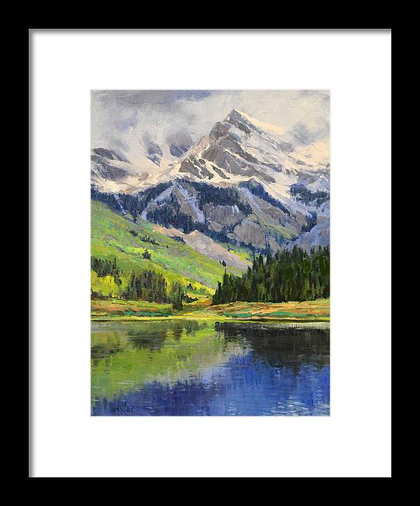 Wallis Framed Print featuring the painting Mountain Top In Spring by Eric Wallis