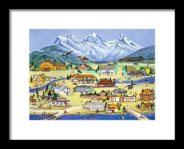 Canmore Framed Print featuring the painting Mountain Town Of Canmore by Virginia Ann Hemingson