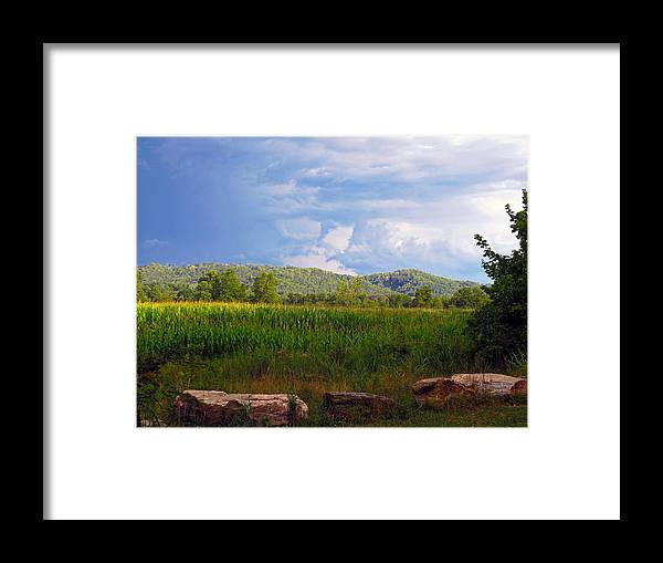 Blue Ridge Mountains Framed Print featuring the photograph Mountains Corn And Blue Skies by Lisa Jones