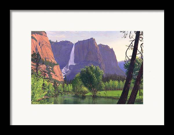 Waterfall Framed Print featuring the painting Mountains Waterfall Stream Western Mountain Landscape Oil Painting by Walt Curlee