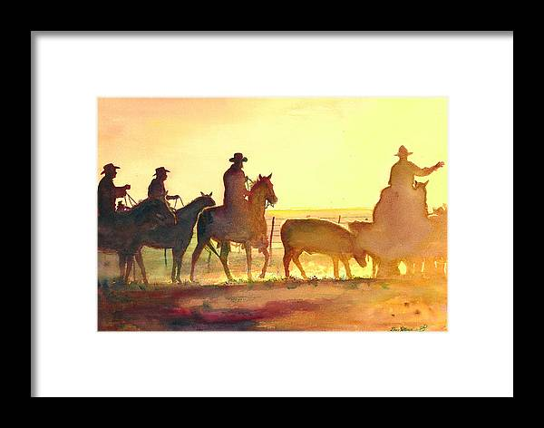 Cow Prints Framed Print featuring the painting Moving Cows by Don Dane