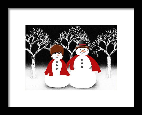 Andee Design Abstract Framed Print featuring the digital art Mr And Mrs Snow 1 by Andee Design