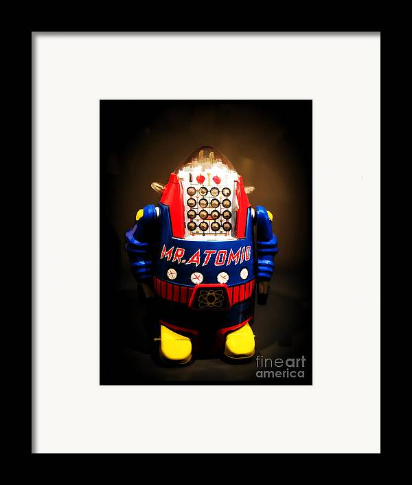 Robot Framed Print featuring the photograph Mr. Atomic Tin Robot by Edward Fielding