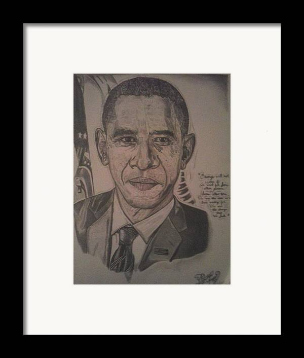 President Framed Print featuring the drawing Mr. President by Demetrius Washington