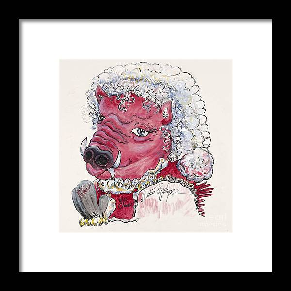 Mrs. Claus Framed Print featuring the painting Mrs. Claus Hog by Nadine Rippelmeyer