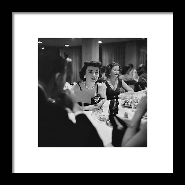 Food Framed Print featuring the photograph Mrs. Sidney Wood And Mrs. Stass Reed Sitting by Clifford Coffin
