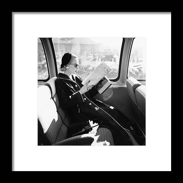 Personality Framed Print featuring the photograph Mrs. William McManus Reading On A Train by Leombruno-Bodi