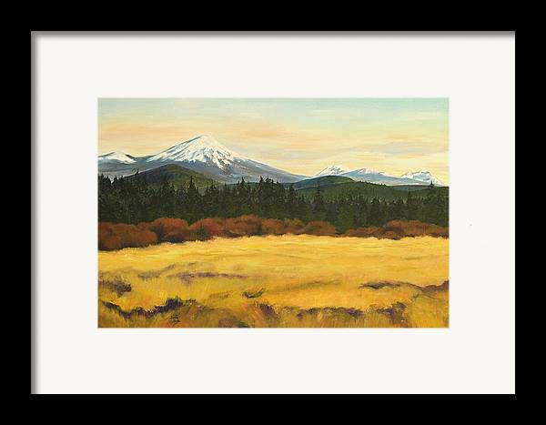 Landscapes Framed Print featuring the painting Mt. Bachelor by Donna Drake