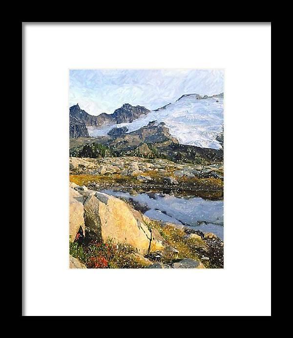 Mt Baker Washington State Framed Print featuring the pastel Mt Baker Washington State by Olde Time Mercantile