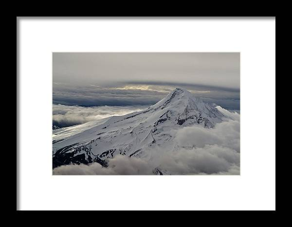 Mountain Framed Print featuring the photograph Mt. Hood Between Clouds by Richard Risely