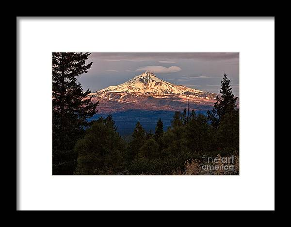 Camp Sherman Framed Print featuring the photograph Mt. Jefferson At Dawn by Stuart Gordon