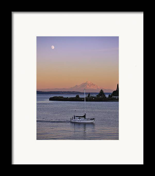 3scape Photos Framed Print featuring the photograph Mt. Rainier Afterglow by Adam Romanowicz