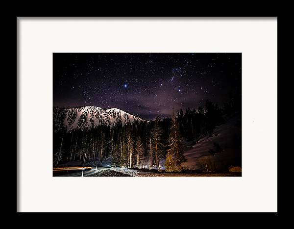Astrophotography Framed Print featuring the photograph Mt. Rose Highway And Ski Resort At Night by Scott McGuire
