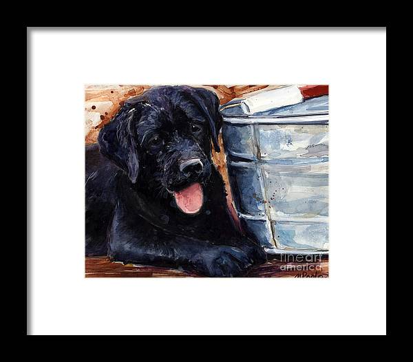 Labrador Retriever Framed Print featuring the painting Mud Pies by Molly Poole
