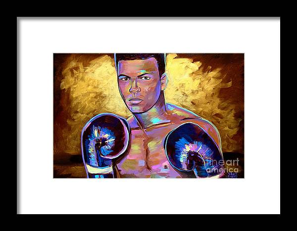 Muhammad Ali Framed Print featuring the painting Muhammad Ali by Robert Phelps