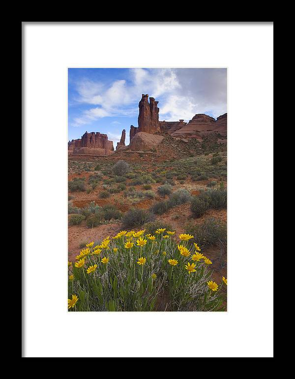 Red Rock Framed Print featuring the photograph Mule Ears And The Three Gossips - 1 by Duncan Mackie