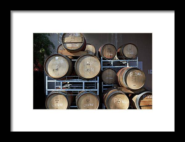 Stellenbosch Framed Print featuring the photograph Multible Wooden French Winebarrels On by Klaus Vedfelt
