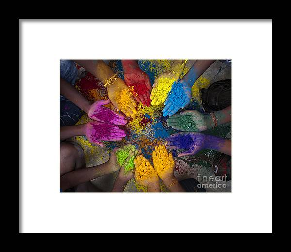 Indian Boys Framed Print featuring the photograph Multicoloured Hands by Tim Gainey