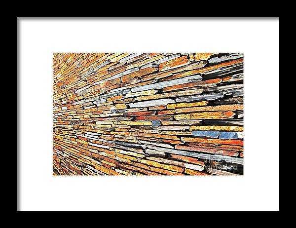 Slate Stone Wall Framed Print featuring the photograph Multicoloured Slate Wall by Herman Cloete