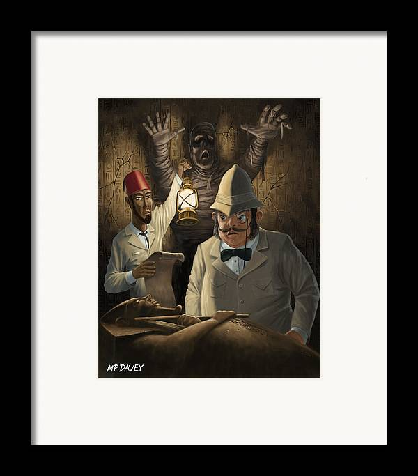 Egyptian Framed Print featuring the painting Mummy Awake by Martin Davey
