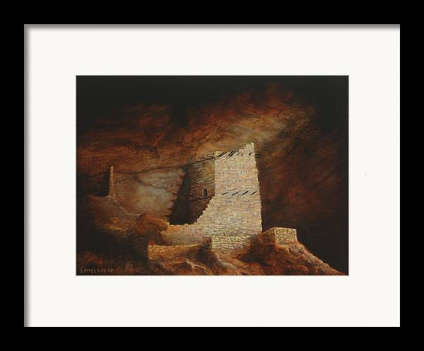 Anasazi Framed Print featuring the painting Mummy Cave by Jerry McElroy