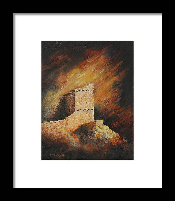 Anasazi Framed Print featuring the painting Mummy Cave Ruins 2 by Jerry McElroy