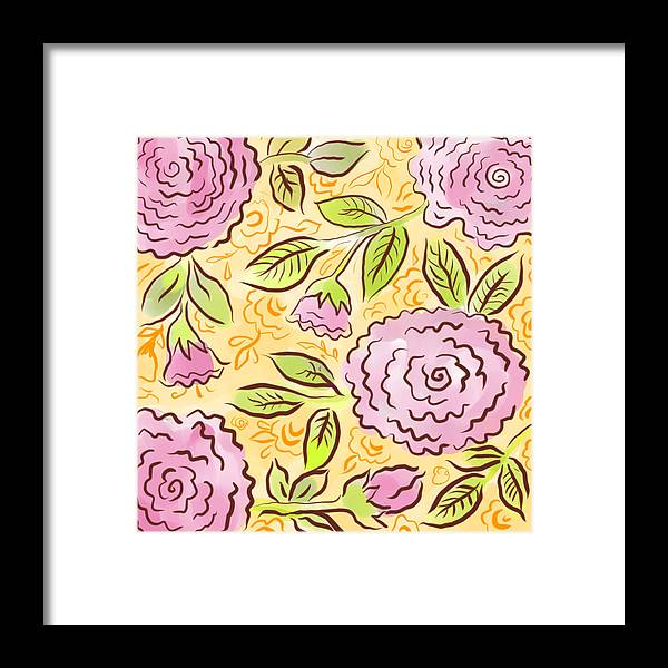 Pink Framed Print featuring the digital art Mums And Roses by Elaine Jackson