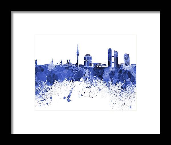 Munich Skyline In Blue Watercolor On White Background Framed Print featuring the painting Munich Skyline In Blue Watercolor On White Background by Pablo Romero
