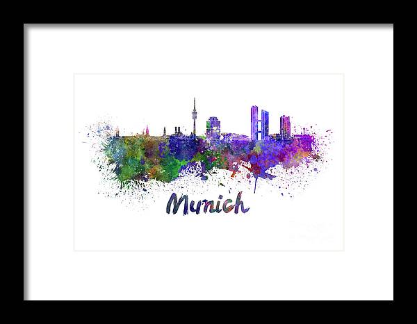 Munich Skyline Framed Print featuring the painting Munich Skyline In Watercolor by Pablo Romero