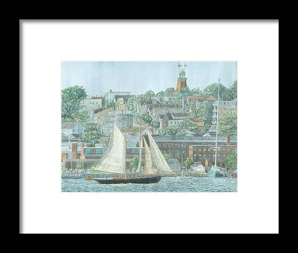 Munjoy Hill Framed Print featuring the drawing Munjoy Hill by Dominic White