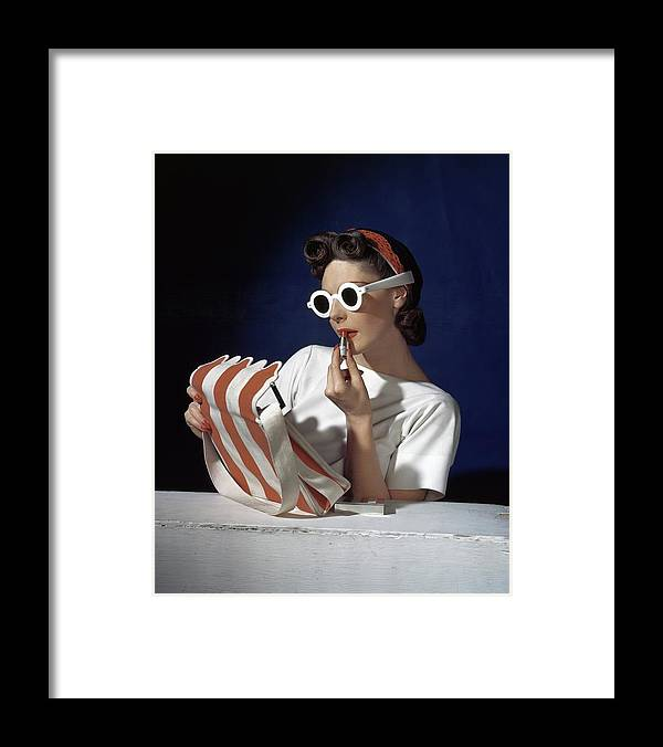 Accessories Framed Print featuring the photograph Muriel Maxel Applying Lipstick by Horst P. Horst